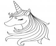 tete de licorne fille dessin à colorier
