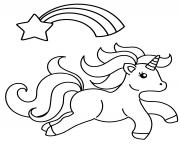 bebe licorne magique avec un arc en ciel et une etoile dessin à colorier
