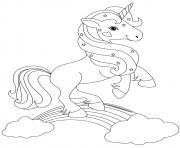 licorne magique avec etoiles sur un arc en ciel dessin à colorier