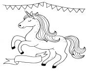licorne magique celebration fille dessin à colorier
