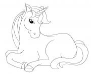maman licorne se repose avec le sourire dessin à colorier