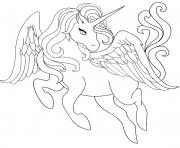belle princesse licorne avec des ailes dessin à colorier