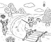 animal crossing village fishing dessin à colorier