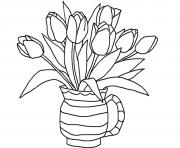 Coloriage tulipes plantes herbacees