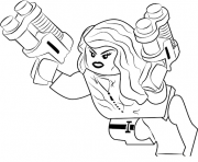 black widow en mode lego dessin à colorier