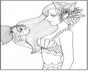 Une sirene intelligente avec un ami poisson dessin à colorier