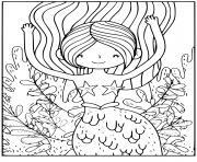 Coloriage Adorable canard de mer en mode sirene dessin