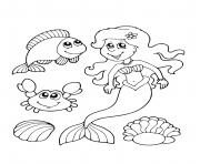 sirene et ses amis marins poisson et crabe dessin à colorier