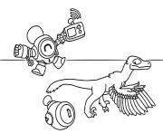 robot nani et un bebe dinosaure dessin à colorier