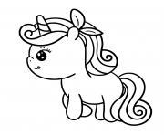 licorne coeur kawaii dessin à colorier