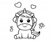 papa licorne kawaii casque de musique dessin à colorier