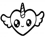 licorne coeur cute kawaii avec des ailes dessin à colorier