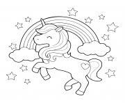licorne magique arc en ciel et etoiles dessin à colorier