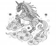 licorne mandala 3 nuages dessin à colorier