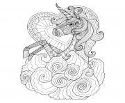 licorne mandala coeur zentangle pour adulte dessin à colorier