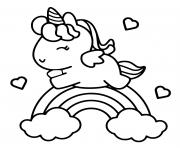 adorable unicorn arc en ciel et coeur dessin à colorier
