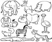 tous les animaux sauvages en une image dessin à colorier