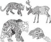 animaux sauvages mandala pour adulte dessin à colorier