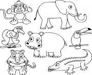 animaux sauvages mignons pour enfants dessin à colorier