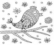 oiseau mandala mignon de zentangle se reposant sur la branche dessin à colorier