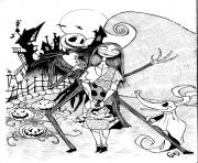 Coloriage jack skellington with sally