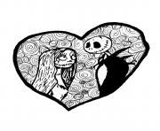 etrange noel monsieur jack en amour coeur dessin à colorier