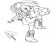 Coloriage Equestria Girls Rainbow Dash Playing Football