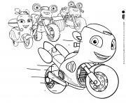 Ricky Zoom une moto rouge equipee de gadgets dessin à colorier