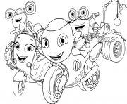 une ville insulaire fictive appelee Wheelford qui est habitee par des motos anthropomorphes dessin à colorier