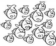 petits et grands poissons rouge dessin à colorier