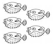 poisson Tetraodontides poissons globes peuvent gonfler dessin à colorier