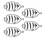 poissons papillons chaetodontides se rencontrent dans l ocean Pacifique dessin à colorier