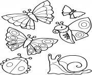 collection de petites betes escargot papillon coccinelle dessin à colorier
