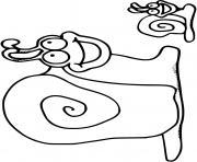 escargot helix aspersa avec son bebe dessin à colorier