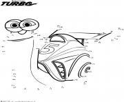 turbo escargot relie les points dessin à colorier