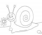 escargot maternelle cp1 avec une fleur dessin à colorier