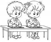 ecole eleves en classe dessin à colorier