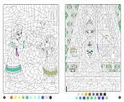 magique disney frozen reine des neiges anna et elsa dessin à colorier