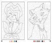 magique disney chat et plante dessin à colorier