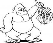 gorille aime les bananes de la jungle dessin à colorier