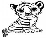un bebe tigre felin avec fourrure jaune rayee de noir dessin à colorier