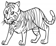 Coloriage cartoon cute tigre