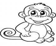 petit singe mignon animaux de la jungle maternelle dessin à colorier