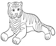 Coloriage adorable tigre qui se repose