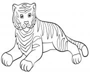 adorable tigre qui se repose dessin à colorier