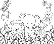 les animaux mignons dans la jungle dessin à colorier