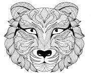 tattoo tigre zentangle adulte avec yeux colore dessin à colorier