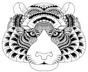 Coloriage tete de tigre avec details zentangle