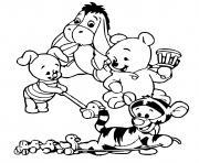porcinet winnie tigrou bourriquet quand ils etaient bebe dessin à colorier