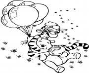 tigrou et winnie dans les airs avec les ballons et un pot de miel dessin à colorier
